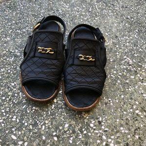 Authentic Chanel Quilt Sandals Mules Black